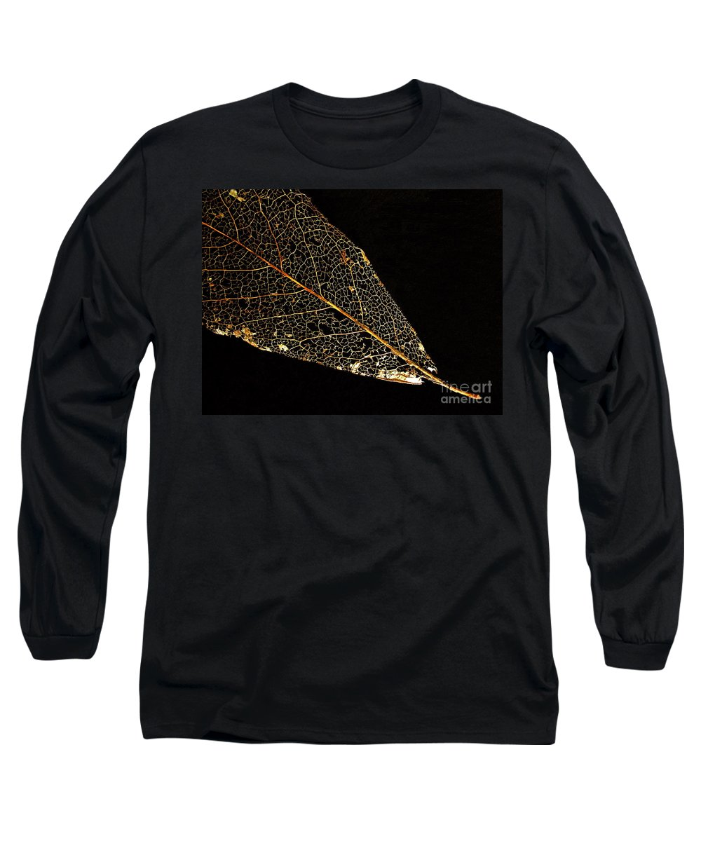 Leaf Long Sleeve T-Shirt featuring the photograph Gold Leaf by Ann Horn