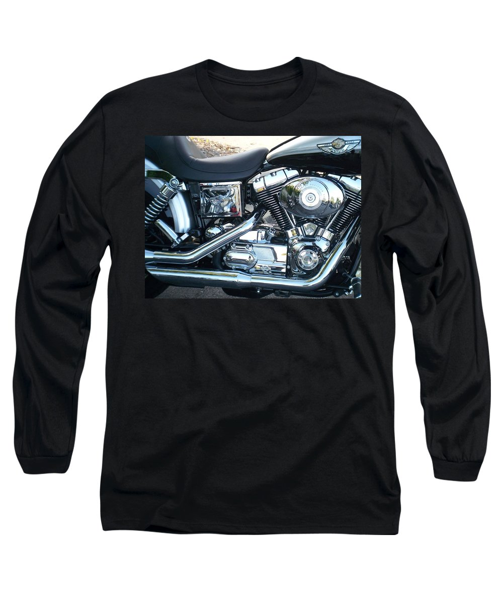 Motorcycles Long Sleeve T-Shirt featuring the photograph Harley Black And Silver Sideview by Anita Burgermeister