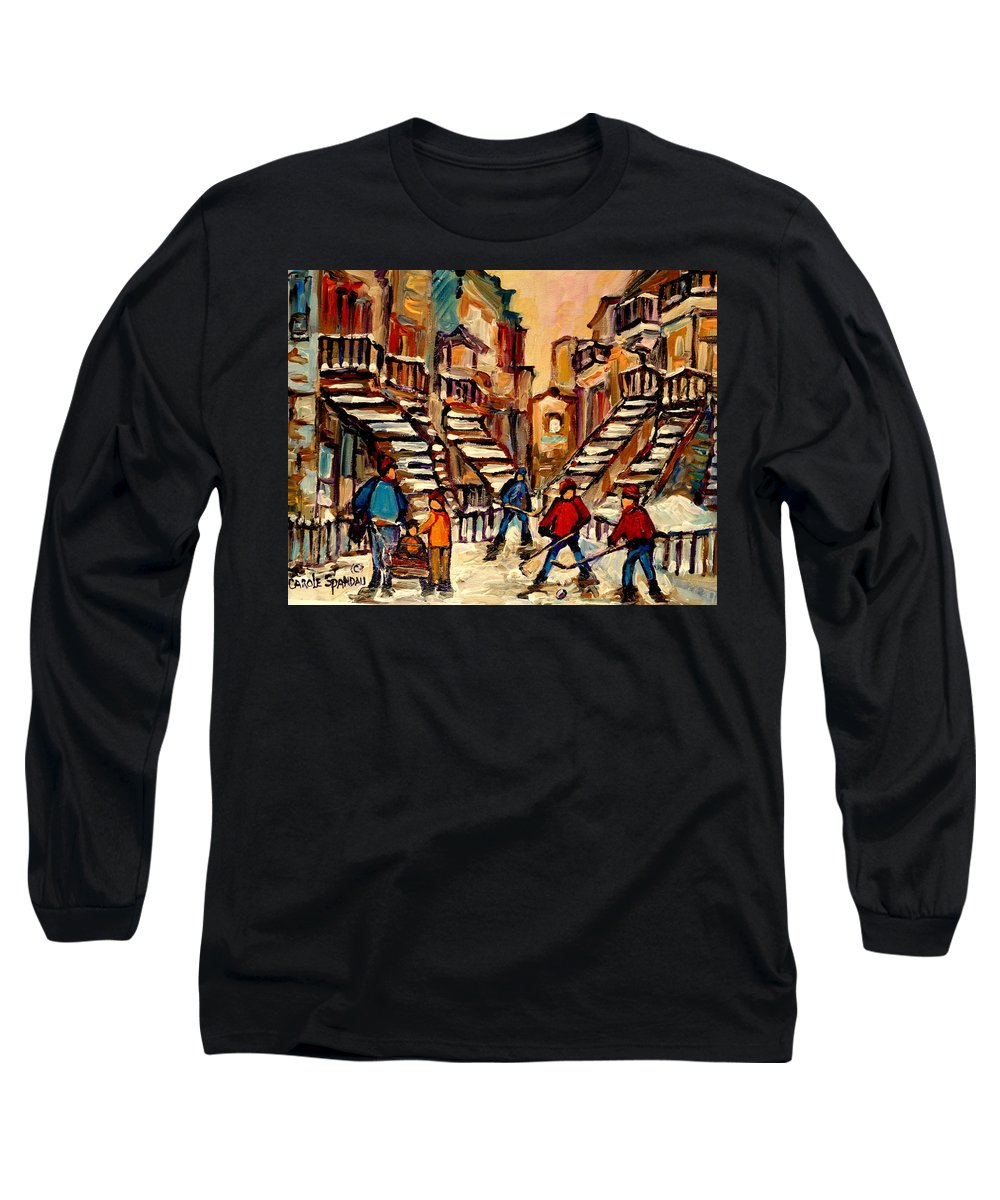 Montreal Long Sleeve T-Shirt featuring the painting Hockey Game Near Winding Staircases Montreal Streetscene by Carole Spandau