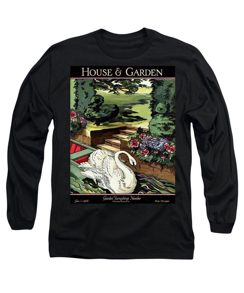 House & Garden Long Sleeve T-Shirt featuring the photograph House & Garden Cover Illustration Of A Swan by Joseph B. Platt