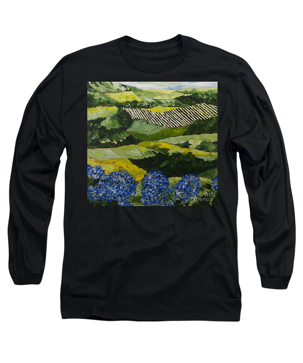 Landscape Long Sleeve T-Shirt featuring the painting Hydrangea Valley by Allan P Friedlander