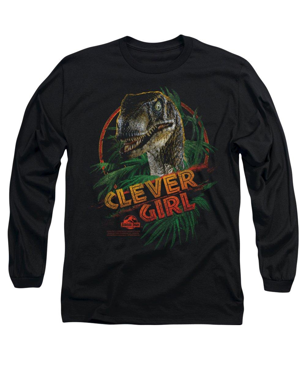 Jurassic Park Long Sleeve T-Shirt featuring the digital art Jurassic Park - Clever Girl by Brand A