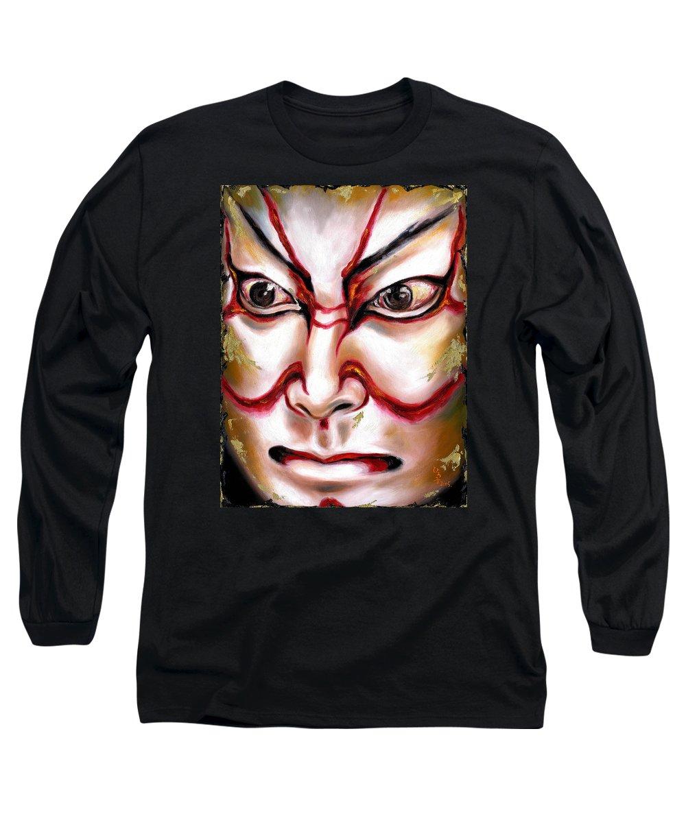 Kabuki Long Sleeve T-Shirt featuring the painting Kabuki One by Hiroko Sakai
