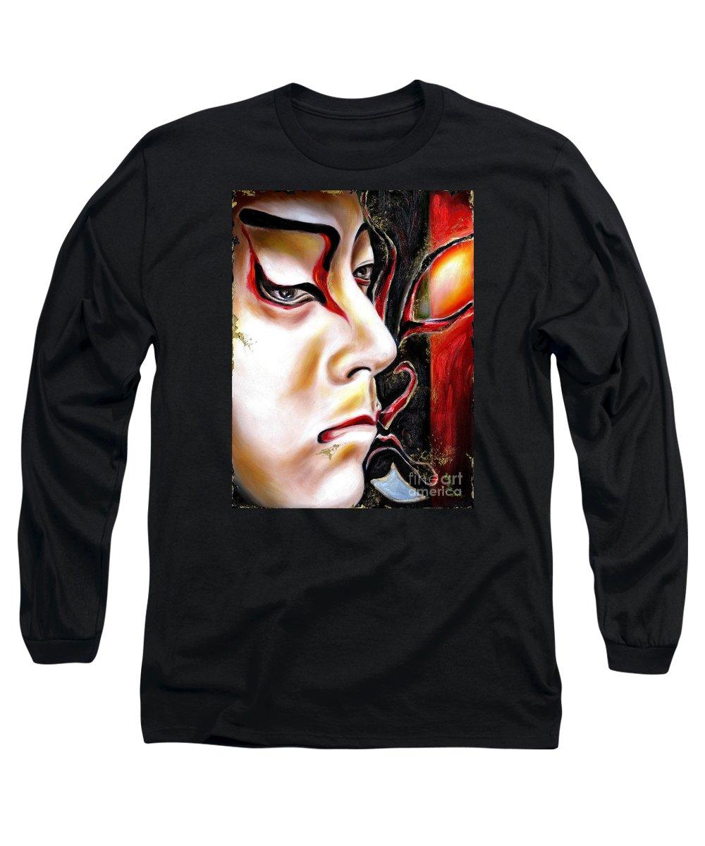 Kabuki Long Sleeve T-Shirt featuring the painting Kabuki Three by Hiroko Sakai