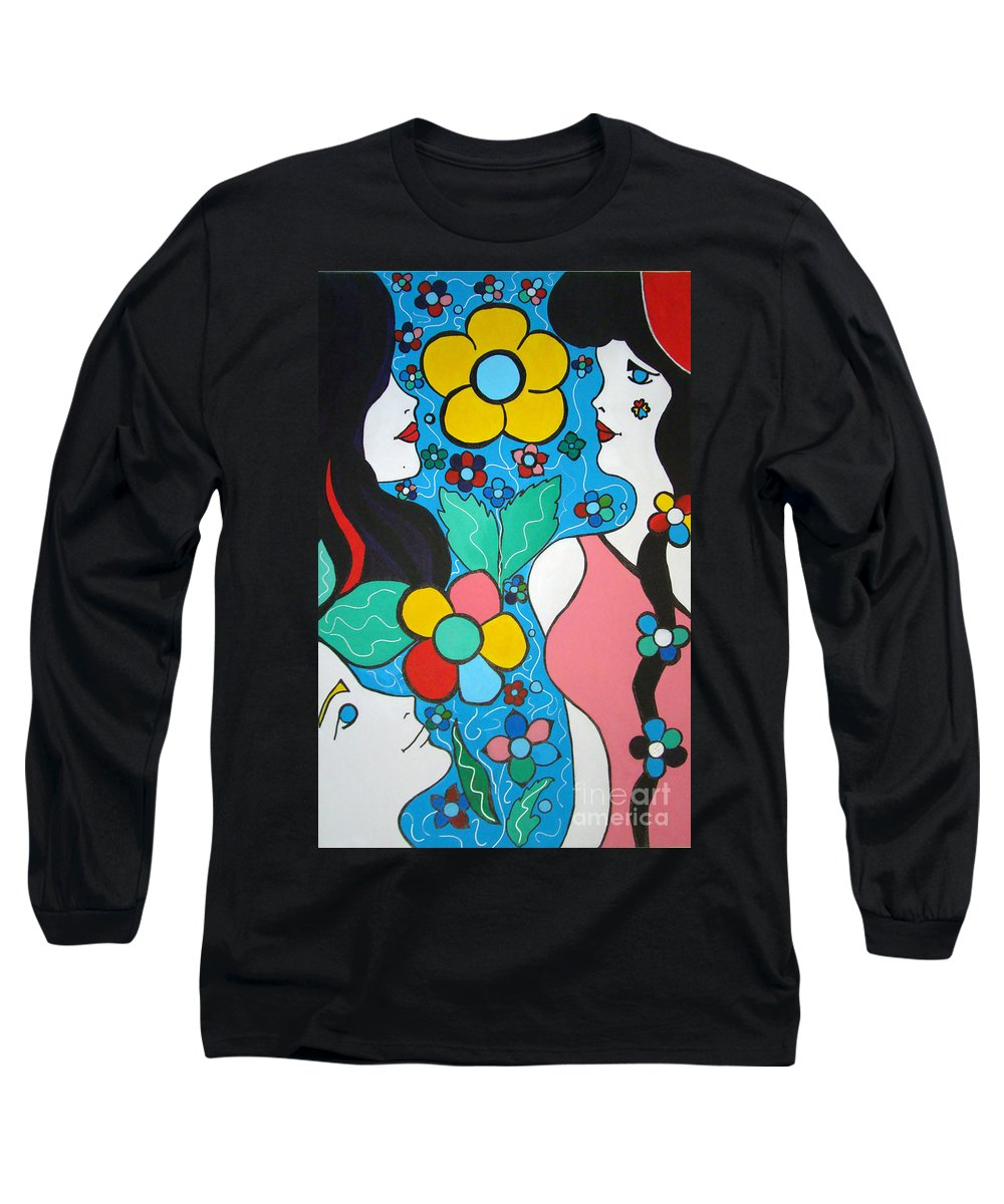 Pop Art Long Sleeve T-Shirt featuring the painting Life Is Beautiful by Silvana Abel