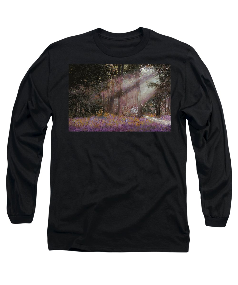 Wood Long Sleeve T-Shirt featuring the painting Luci by Guido Borelli