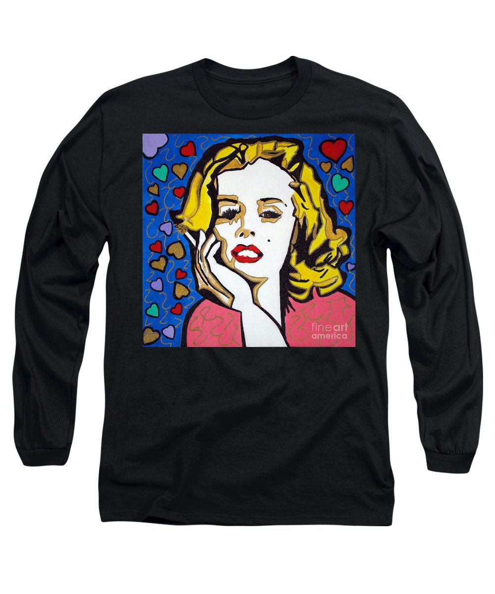 Pop-art Long Sleeve T-Shirt featuring the painting M M by Silvana Abel