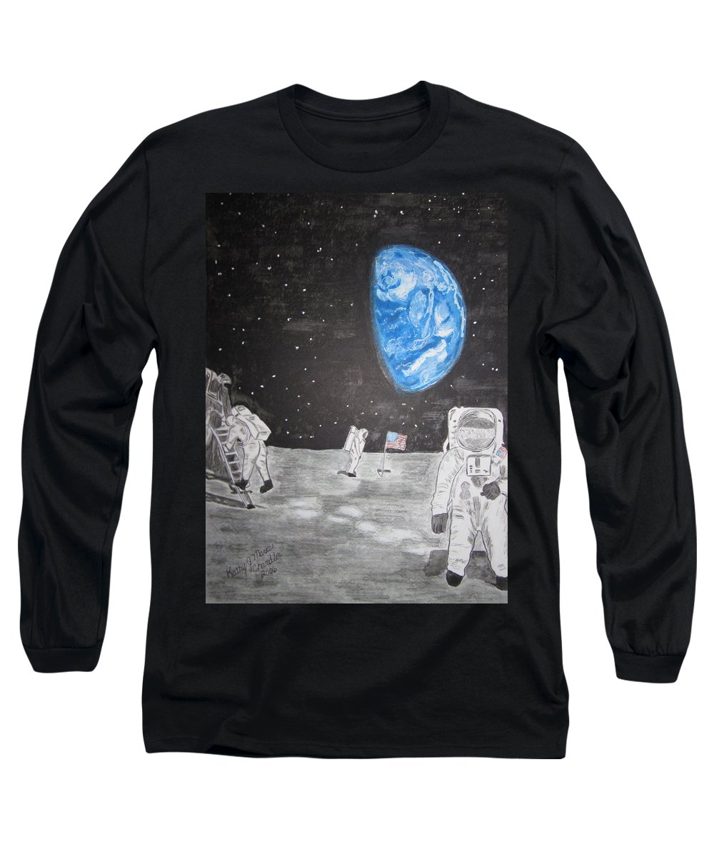 Stars Long Sleeve T-Shirt featuring the painting Man On The Moon by Kathy Marrs Chandler