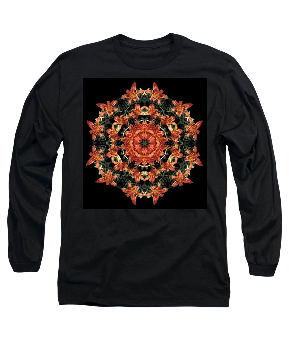Mandala Long Sleeve T-Shirt featuring the photograph Mandala Daylily by Nancy Griswold