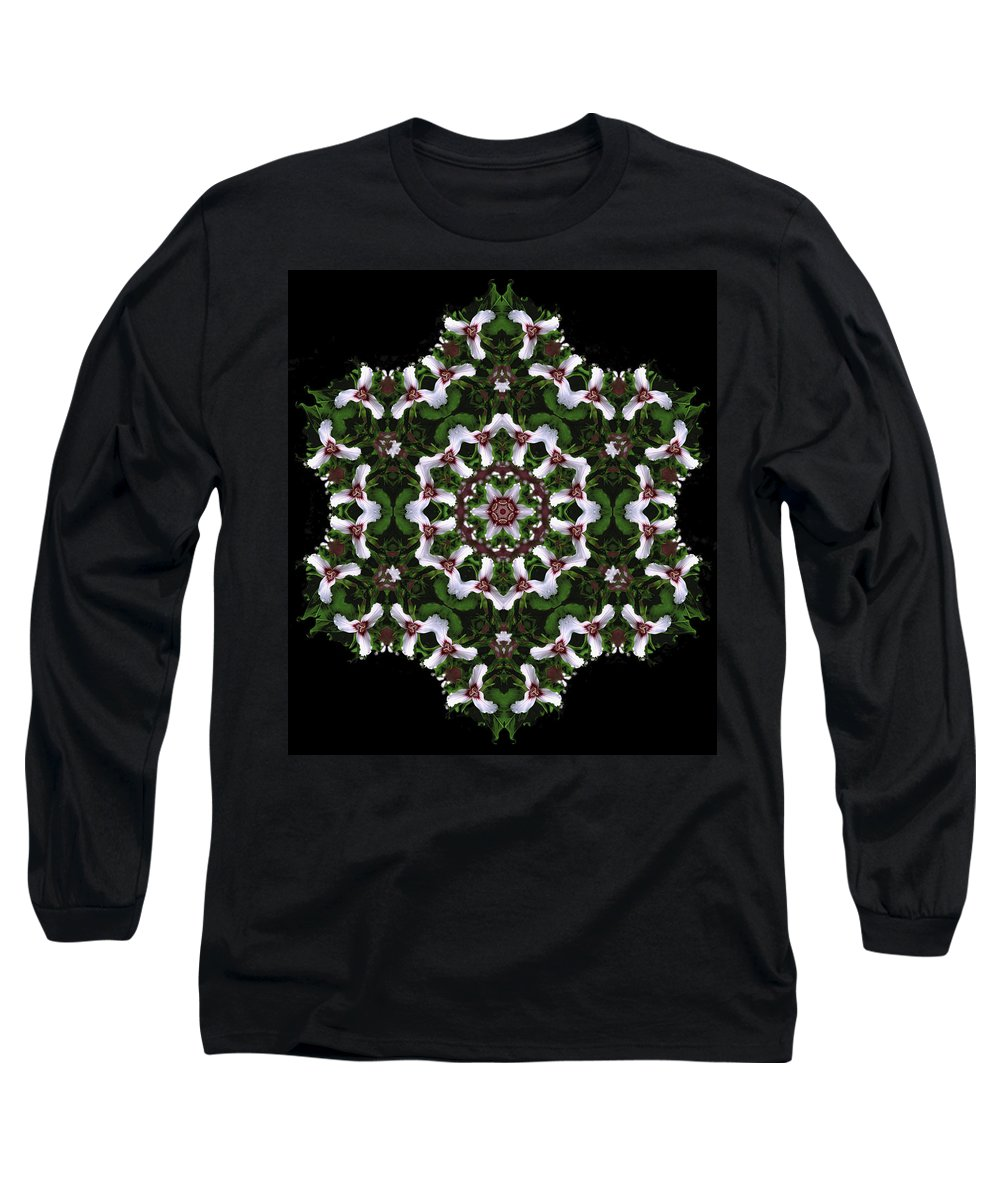 Mandala Long Sleeve T-Shirt featuring the digital art Mandala Trillium Holiday by Nancy Griswold