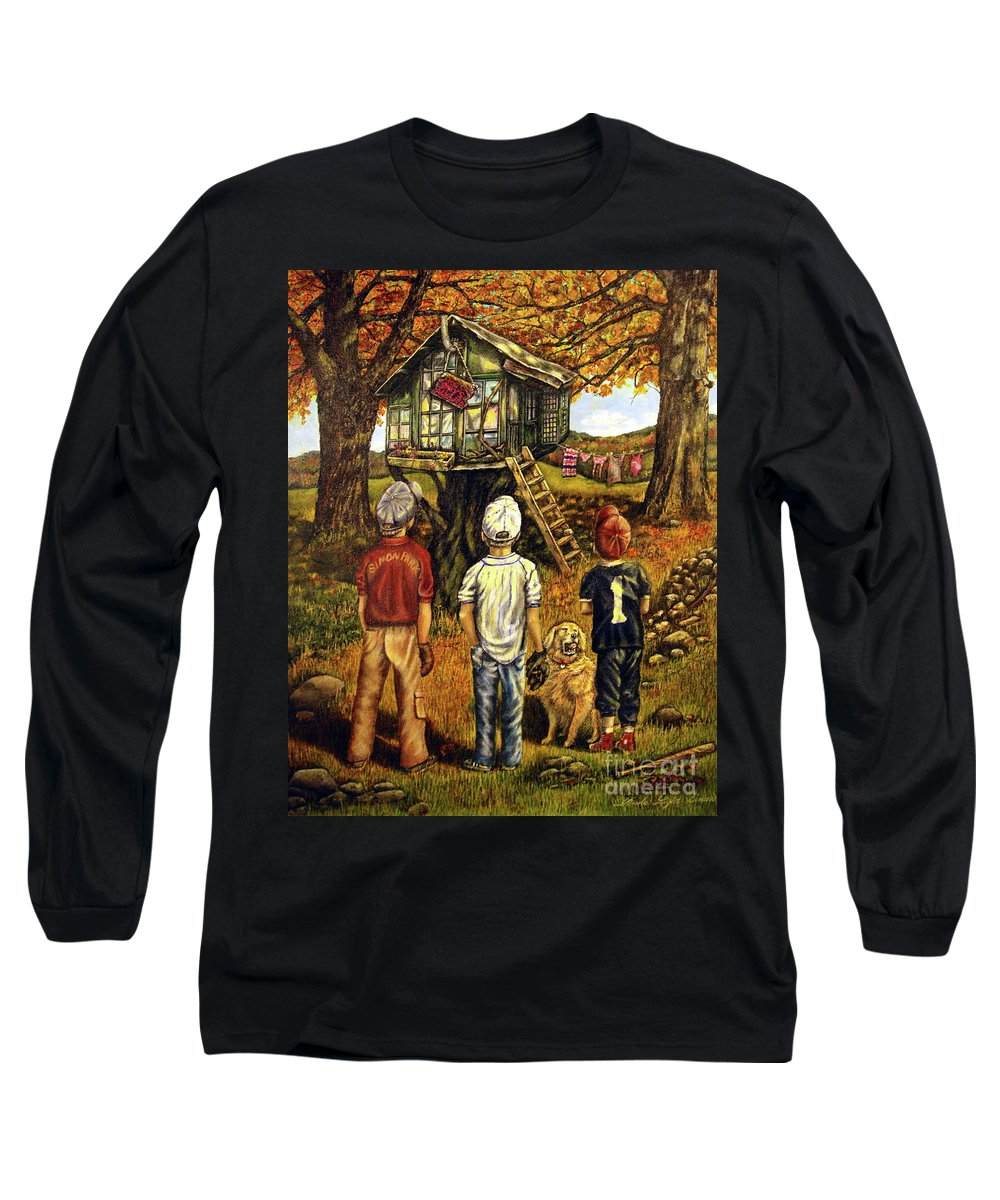 Trees Long Sleeve T-Shirt featuring the painting Meadow Haven by Linda Simon