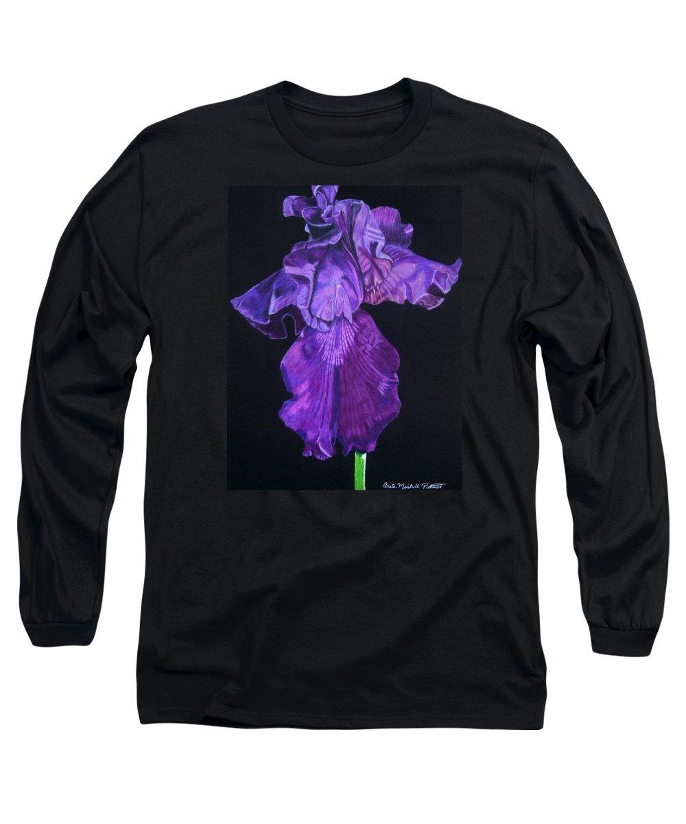 Iris Long Sleeve T-Shirt featuring the drawing Midnight Iris by Anita Putman