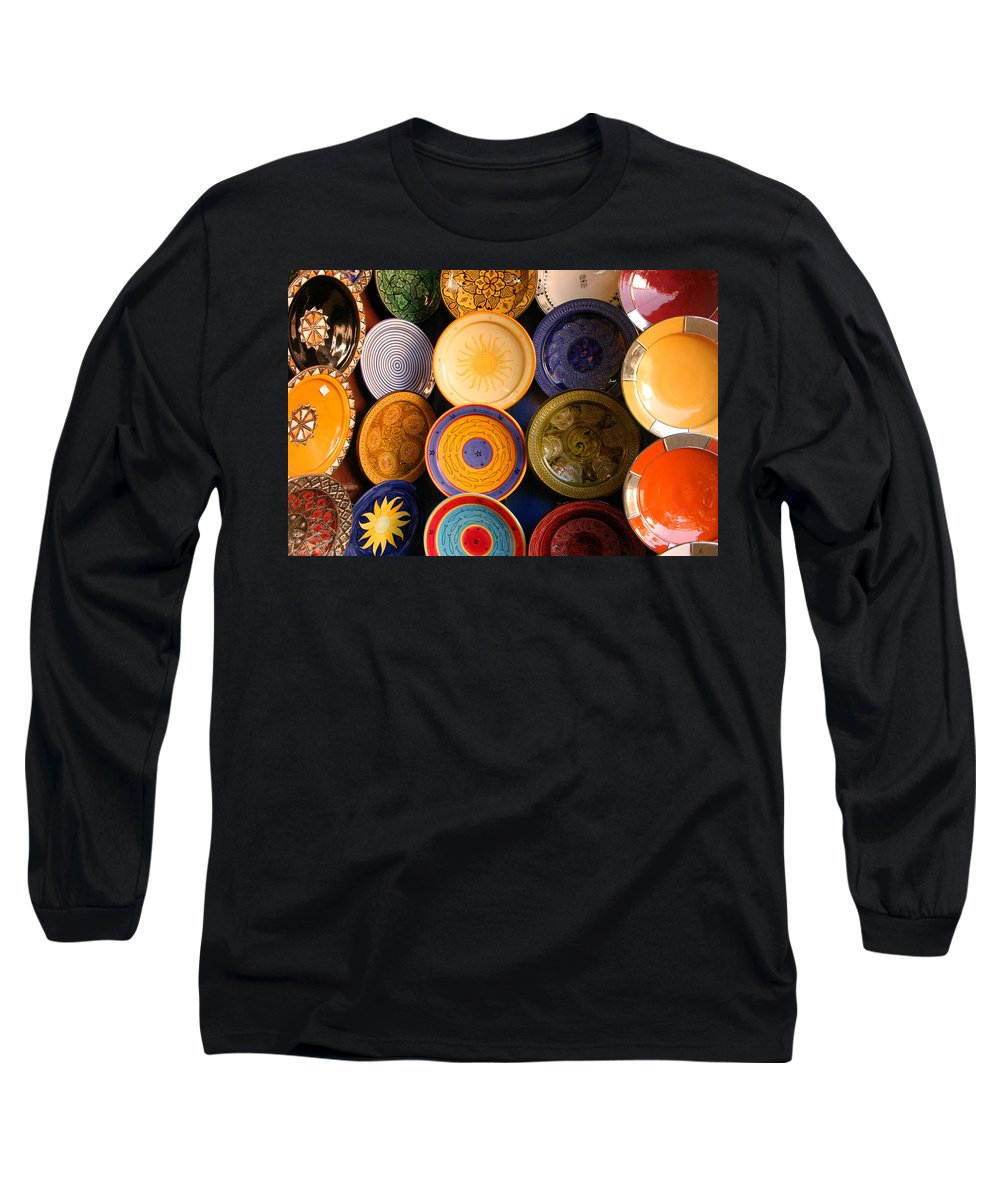 Morocco Long Sleeve T-Shirt featuring the photograph Moroccan Pottery On Display For Sale by Ralph A Ledergerber-Photography