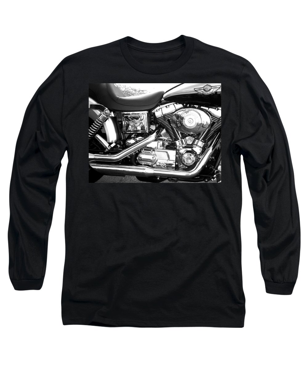 Motorcycles Long Sleeve T-Shirt featuring the photograph Motorcycle Close-up Bw 3 by Anita Burgermeister