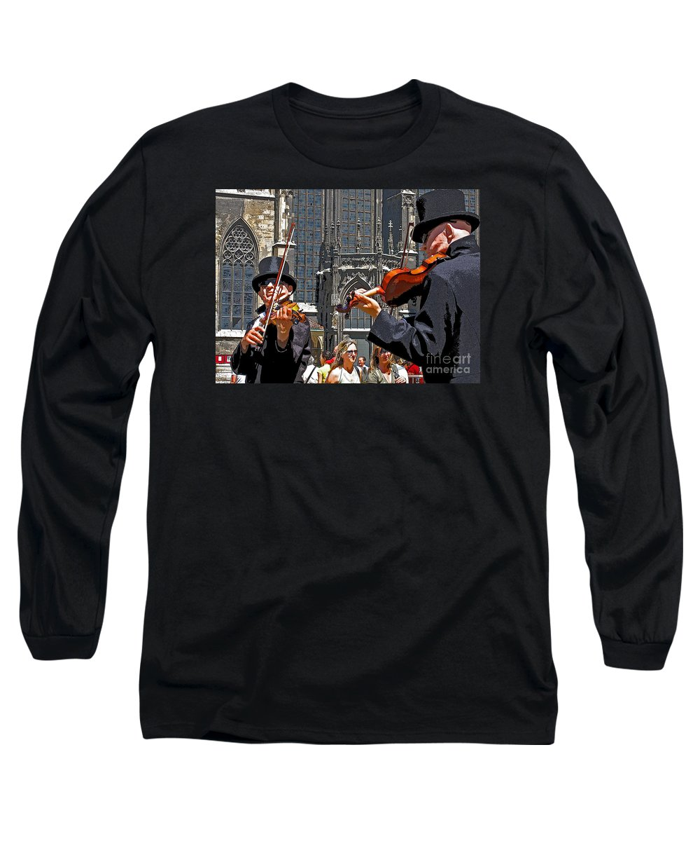 Buskers Long Sleeve T-Shirt featuring the photograph Mozart In Masquerade by Ann Horn