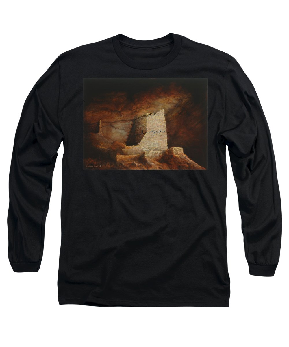 Anasazi Long Sleeve T-Shirt featuring the painting Mummy Cave by Jerry McElroy