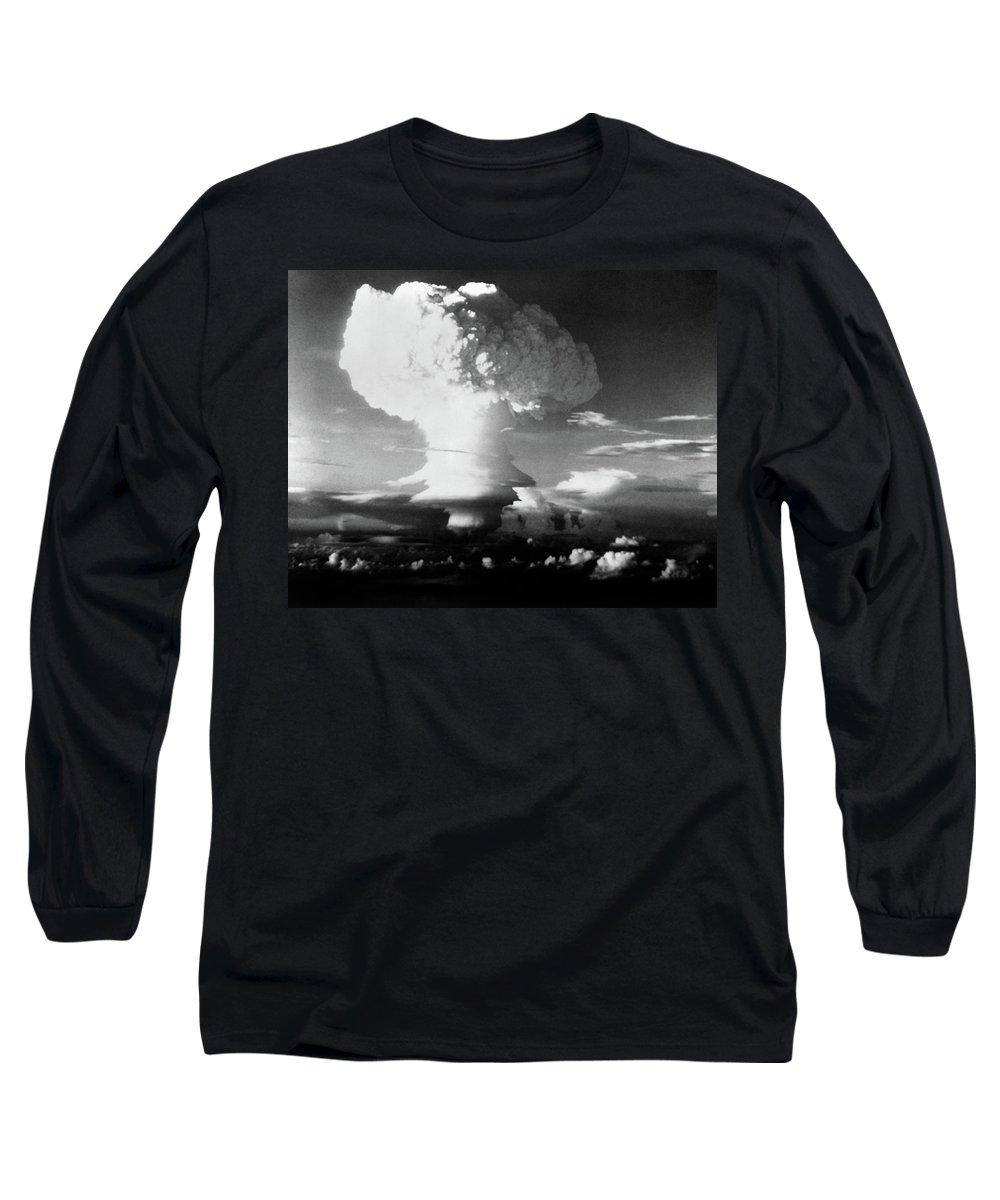 Photography Long Sleeve T-Shirt featuring the photograph Mushroom Cloud From Atomic Bomb Set by Vintage Images