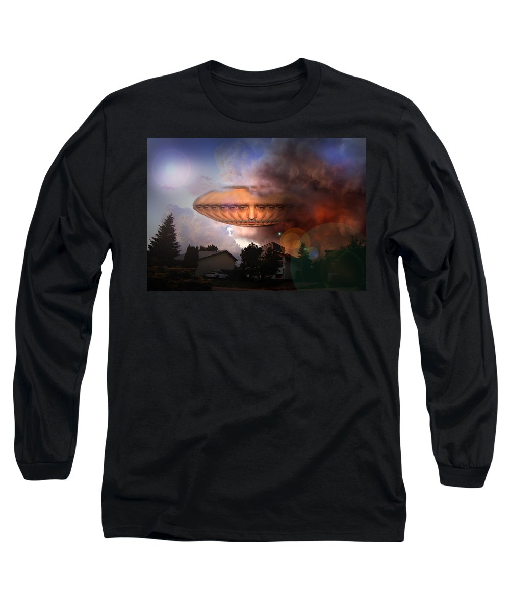 Surrealism Long Sleeve T-Shirt featuring the digital art Mystic Ufo by Otto Rapp
