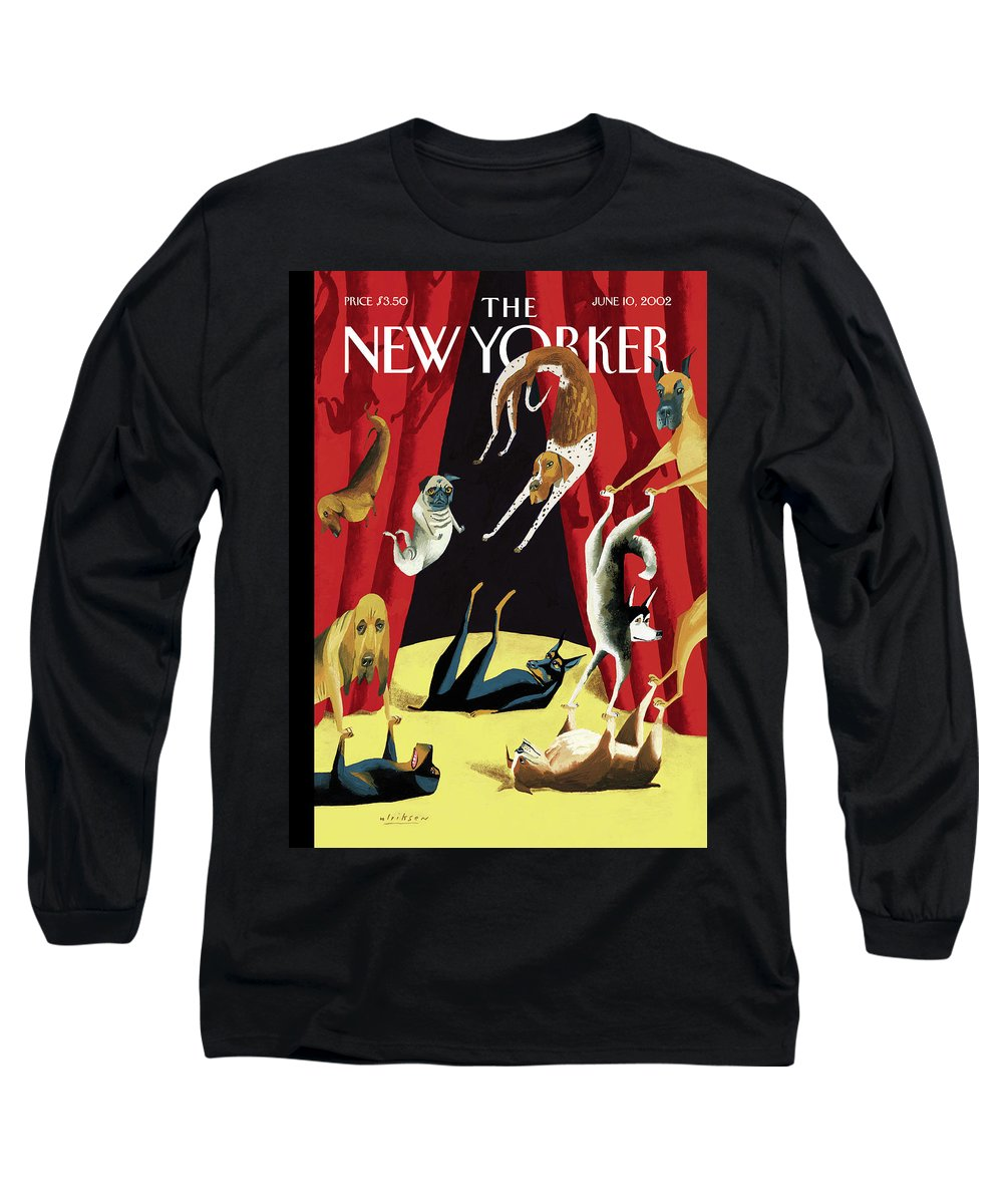 Animals Dogs Entertainment Circus Tricks Stunts Breeds Curtains Stage Dog Canine Acrobat Acrobatics Mark Ulriksen Mul Mul Artkey 51570 Long Sleeve T-Shirt featuring the painting New Yorker June 10th, 2002 by Mark Ulriksen