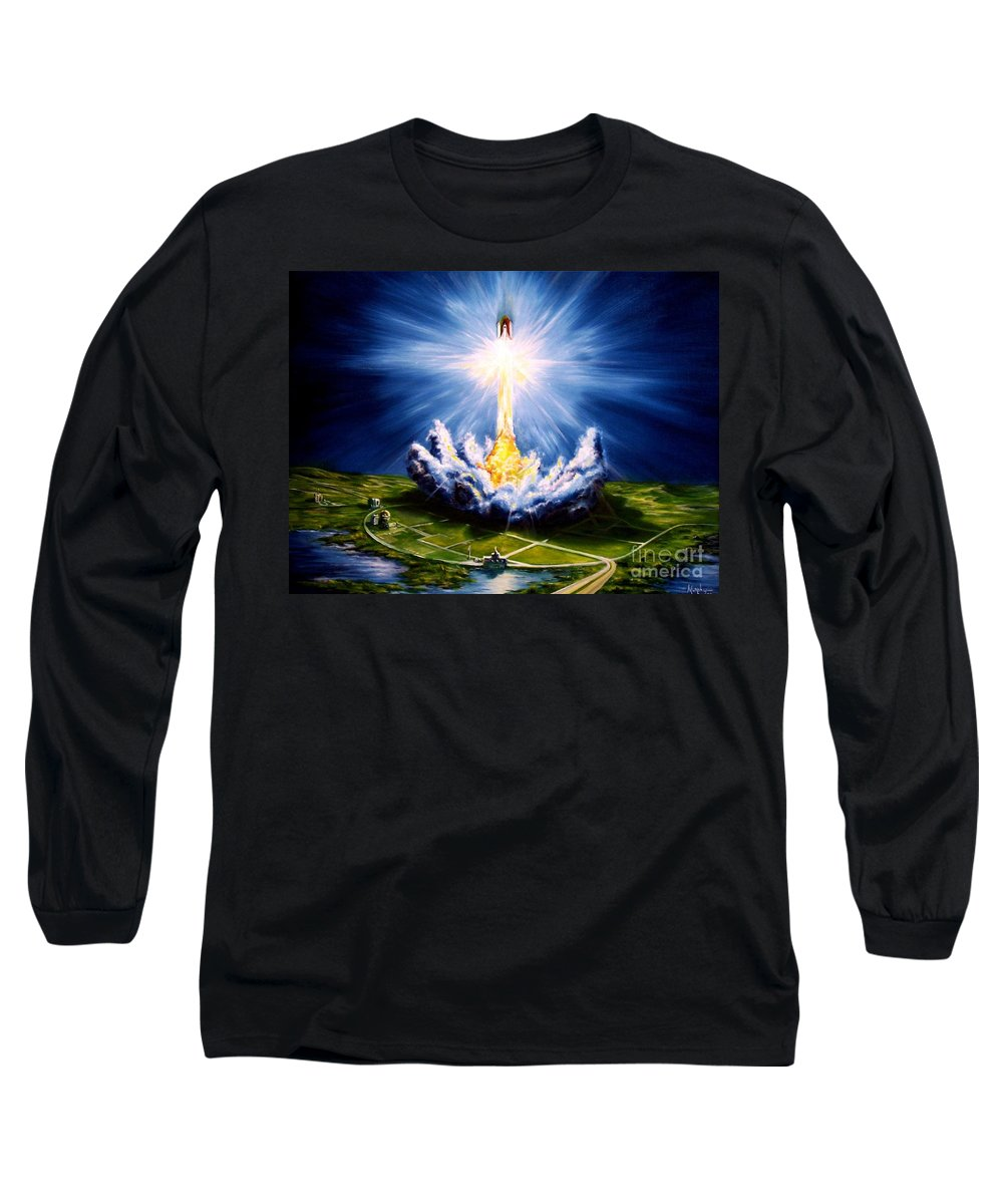 Landscape Long Sleeve T-Shirt featuring the painting Night At The Cape by Murphy Elliott