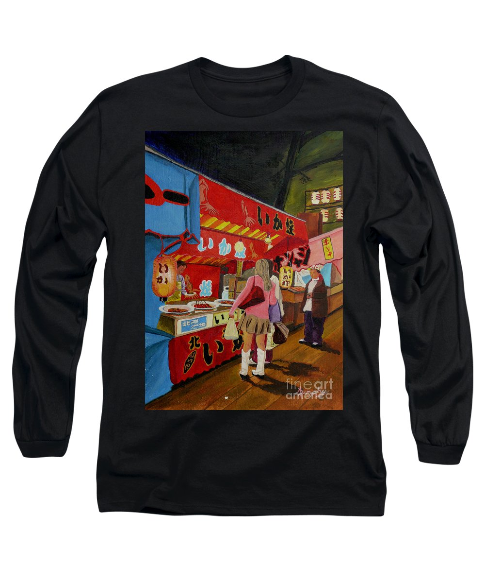 Japan Long Sleeve T-Shirt featuring the painting Night Festival by Anthony Dunphy