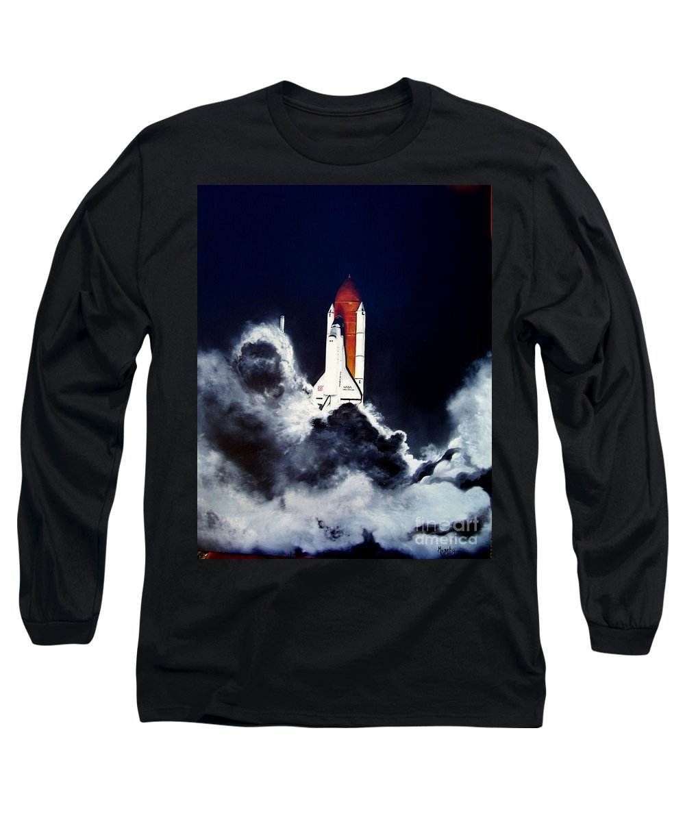 Oil Long Sleeve T-Shirt featuring the painting Night Launch by Murphy Elliott