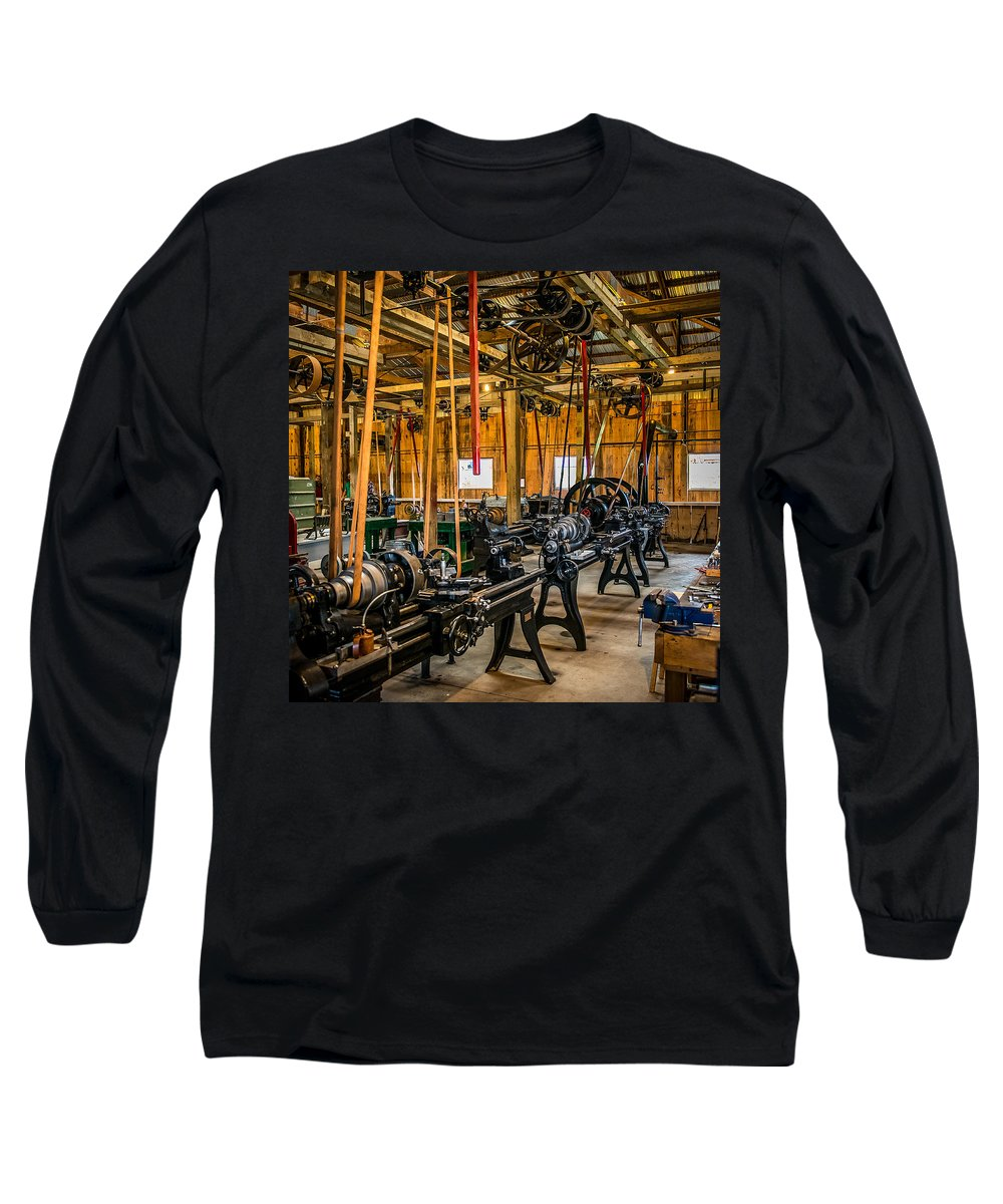 Machine Shop Long Sleeve T-Shirt featuring the photograph Old School Machine Shop by Paul Freidlund