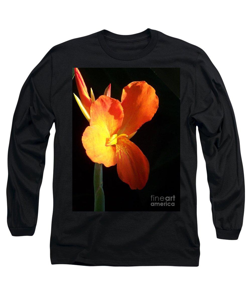 Garden Long Sleeve T-Shirt featuring the photograph Orange Flower Canna by Eric Schiabor
