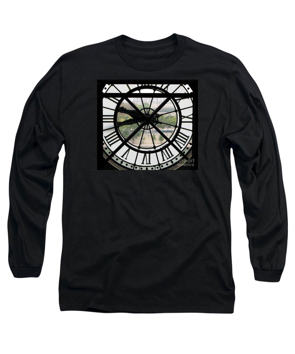 Clock Long Sleeve T-Shirt featuring the photograph Paris Time by Ann Horn