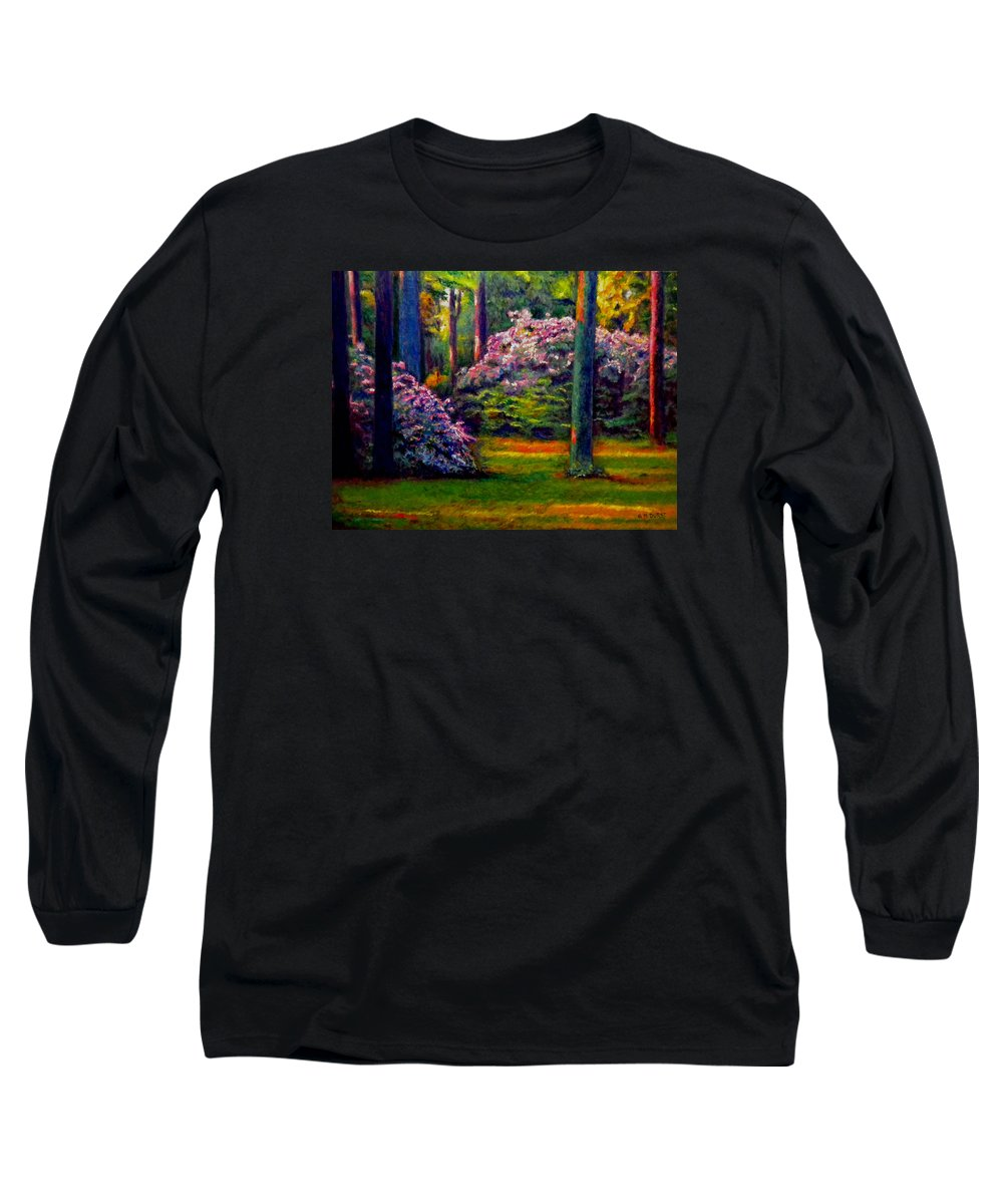 Forest Long Sleeve T-Shirt featuring the painting Peaceful Morning by Michael Durst