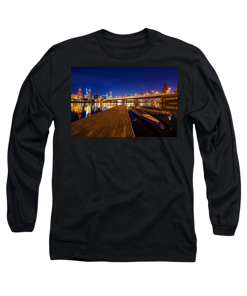 Portland Long Sleeve T-Shirt featuring the photograph Portland Under The Stars by Dustin LeFevre