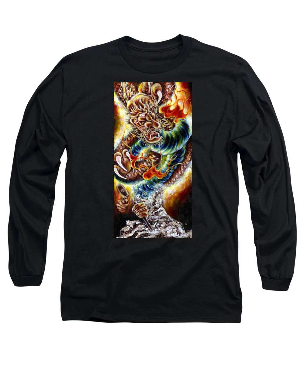 Caving Long Sleeve T-Shirt featuring the painting Power Of Spirit by Hiroko Sakai