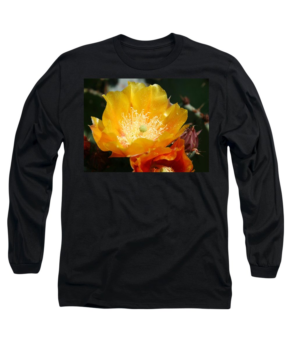 Prickly Pear Blossom Long Sleeve T-Shirt featuring the photograph Prickly Pear Blossom by Ellen Henneke