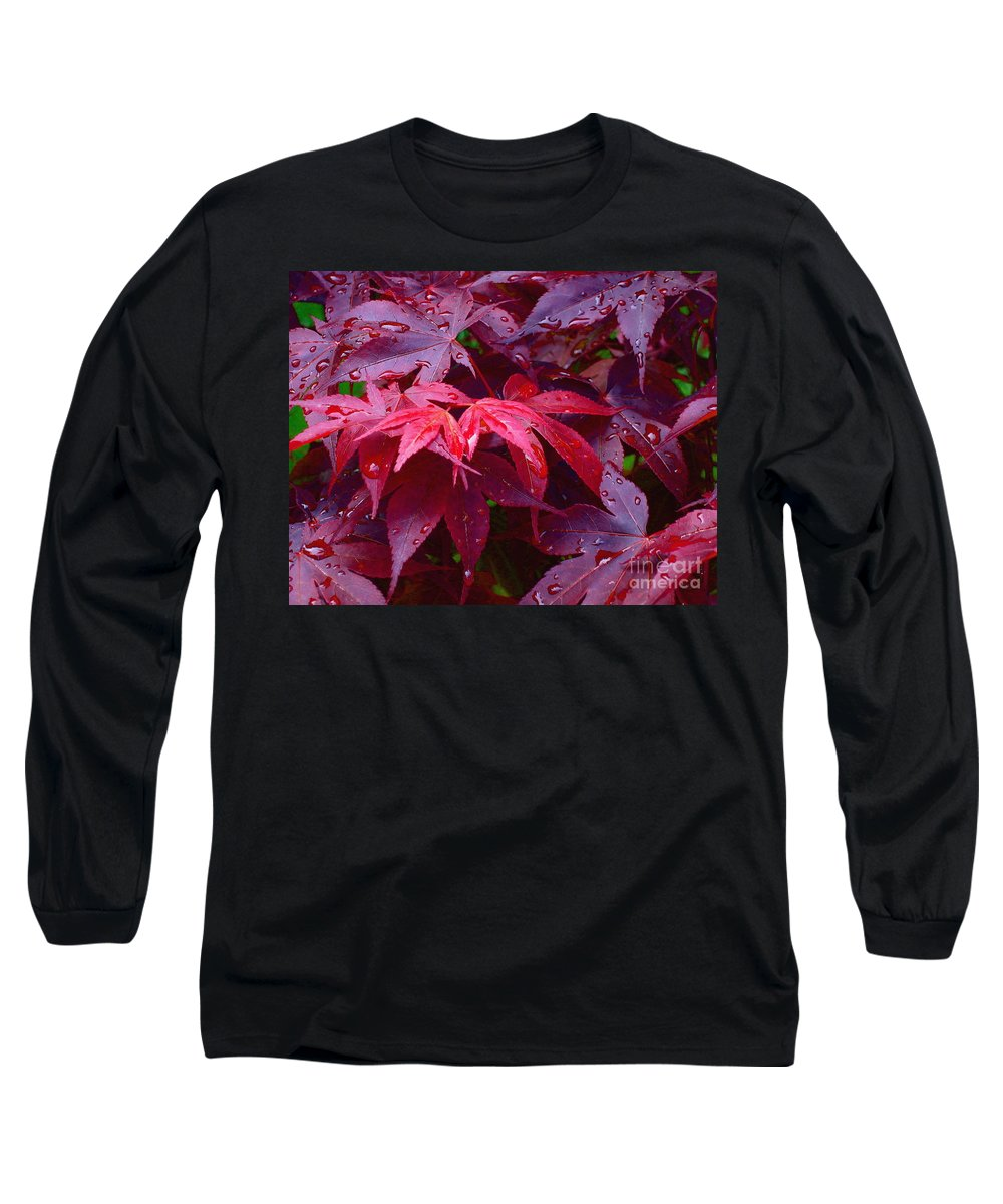 Rain Long Sleeve T-Shirt featuring the photograph Red Maple After Rain by Ann Horn