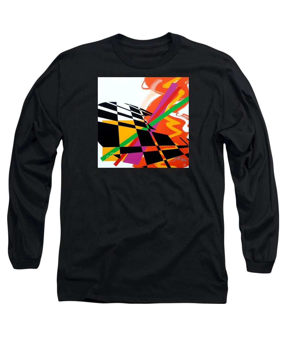Abstract Long Sleeve T-Shirt featuring the painting Red Movement by Jean Pierre Rousselet