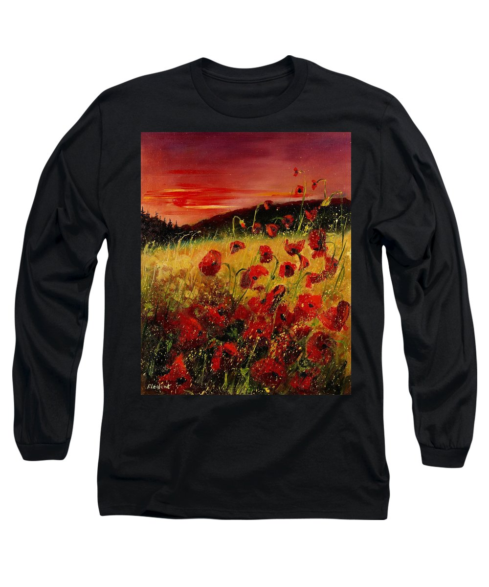 Poppies Long Sleeve T-Shirt featuring the painting Red Poppies And Sunset by Pol Ledent