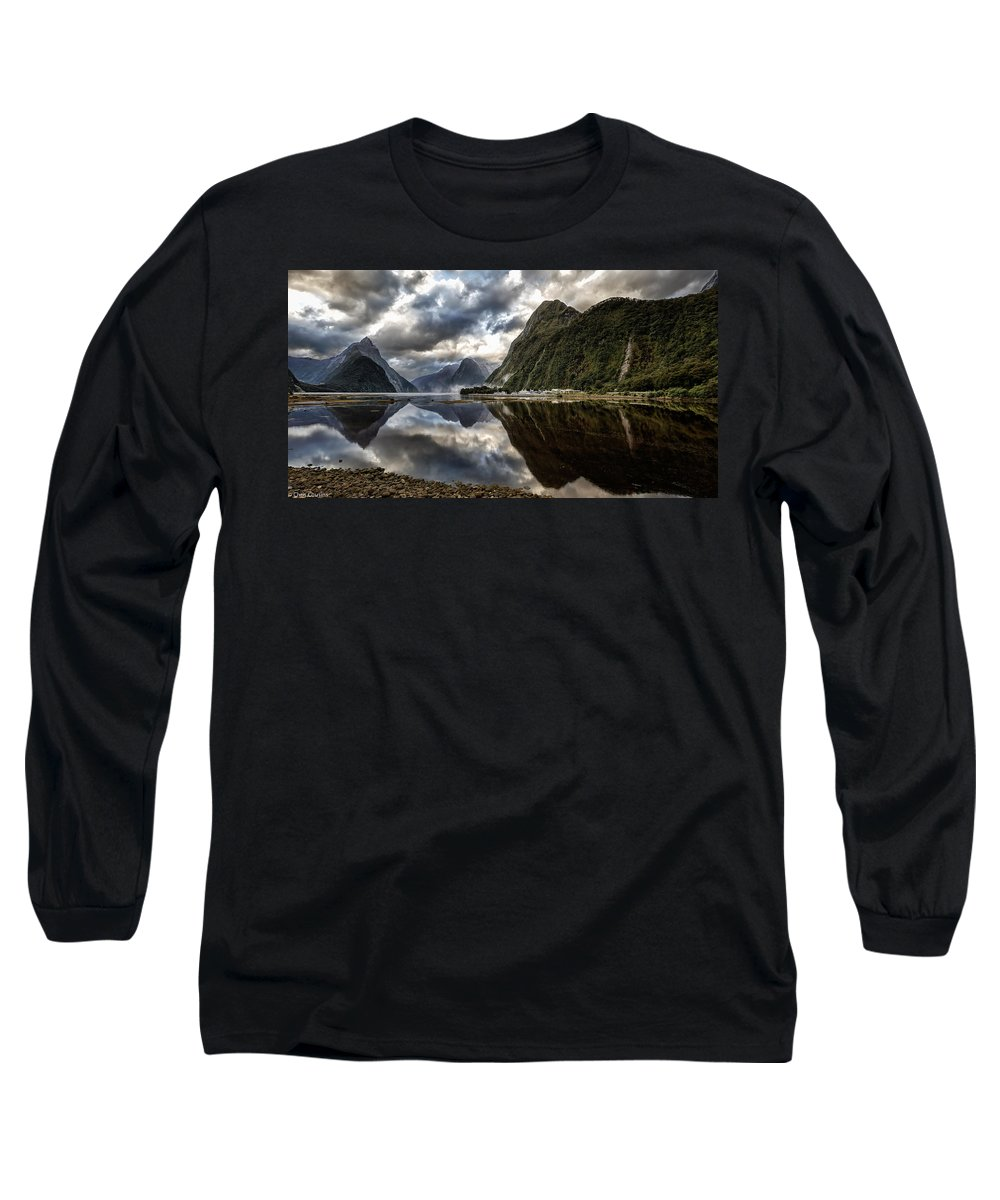 Milford Sound Long Sleeve T-Shirt featuring the photograph Reflecting On Milford by Chris Cousins