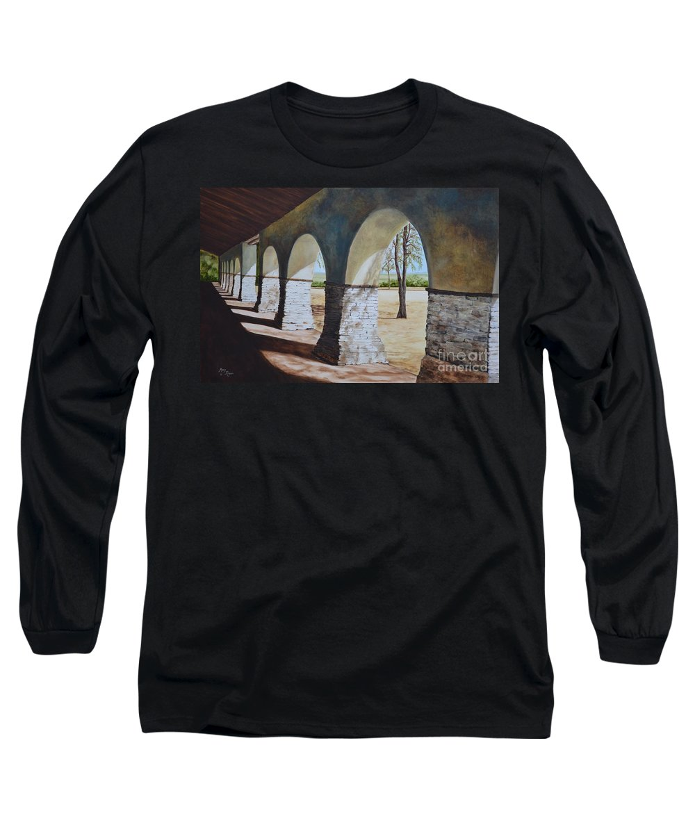 California Landmark Long Sleeve T-Shirt featuring the painting San Juan Bautista Mission by Mary Rogers