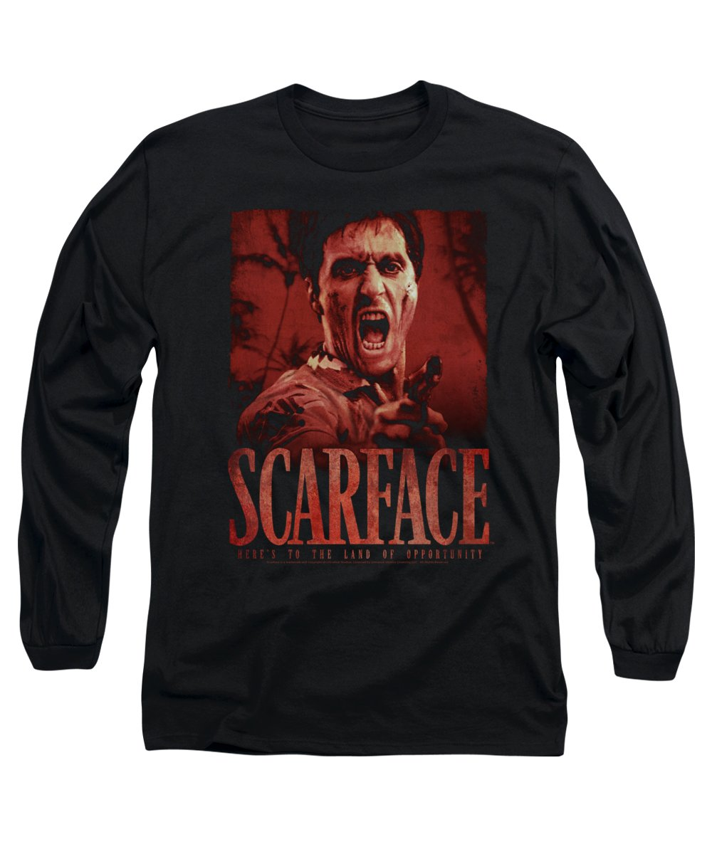 Scareface Long Sleeve T-Shirt featuring the digital art Scarface - Opportunity by Brand A