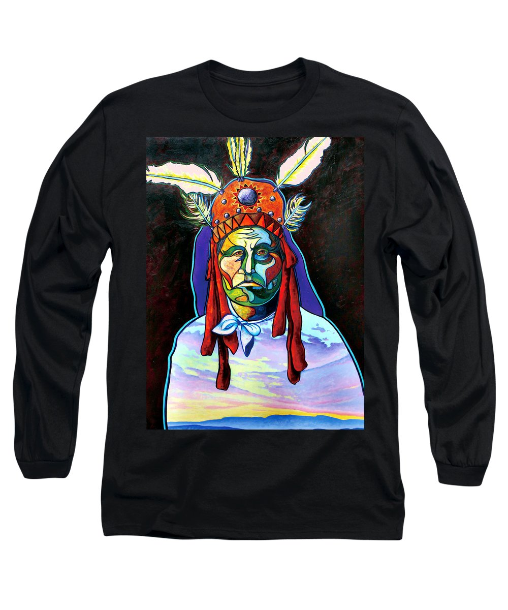 American Indian Long Sleeve T-Shirt featuring the painting Shamans Power by Joe Triano