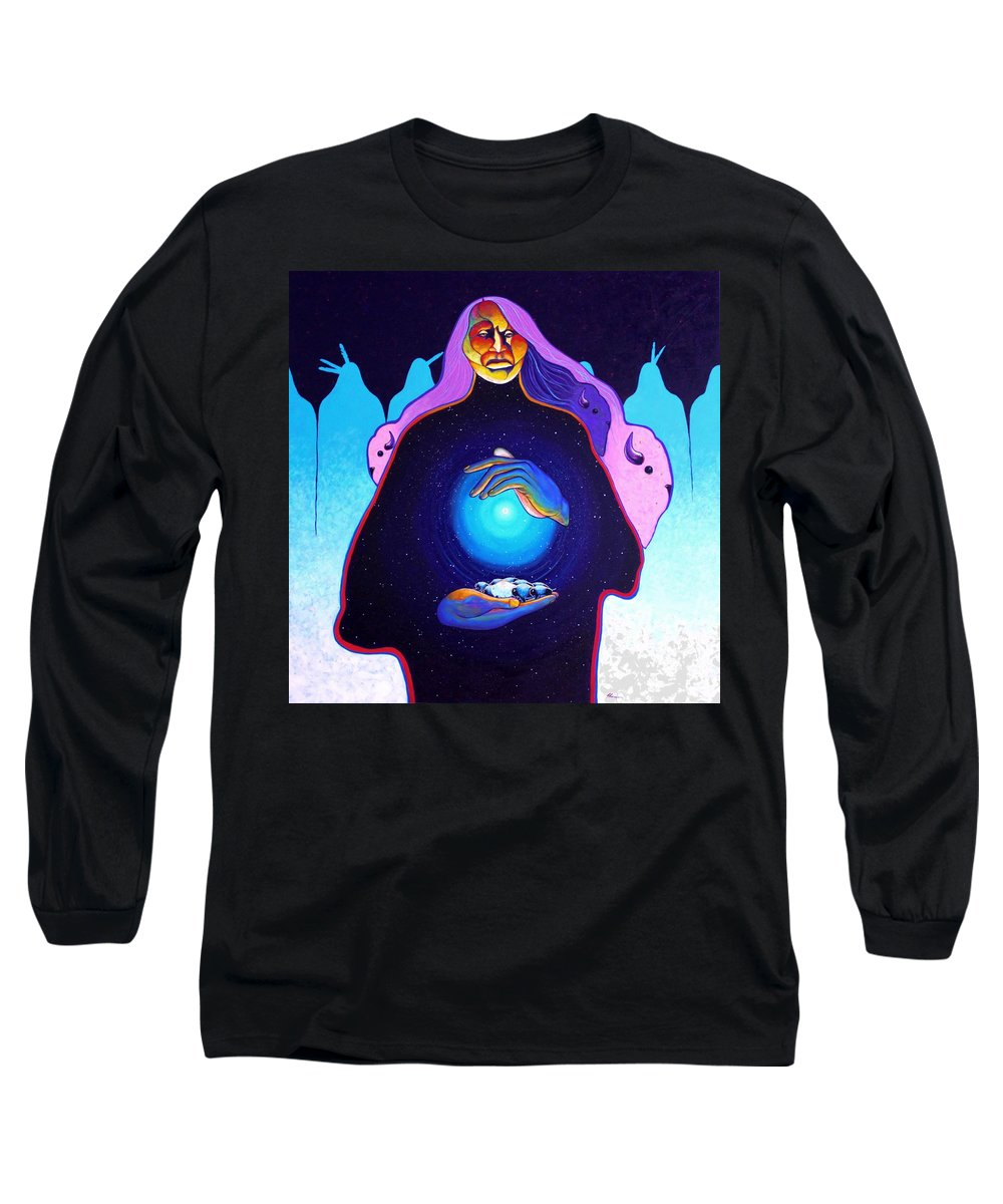 Spiritual Long Sleeve T-Shirt featuring the painting She Carries The Spirit by Joe Triano