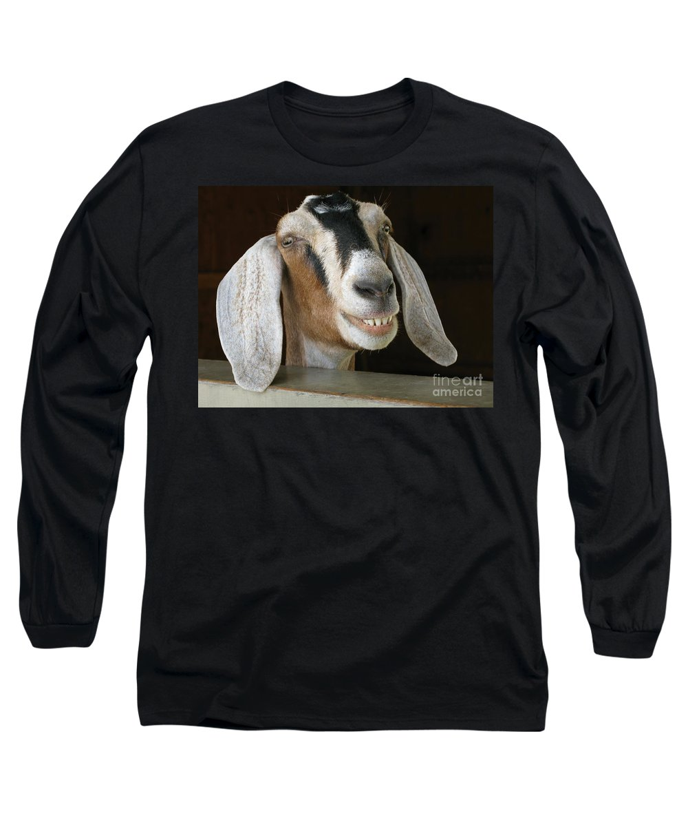 Goat Long Sleeve T-Shirt featuring the photograph Smile Pretty by Ann Horn