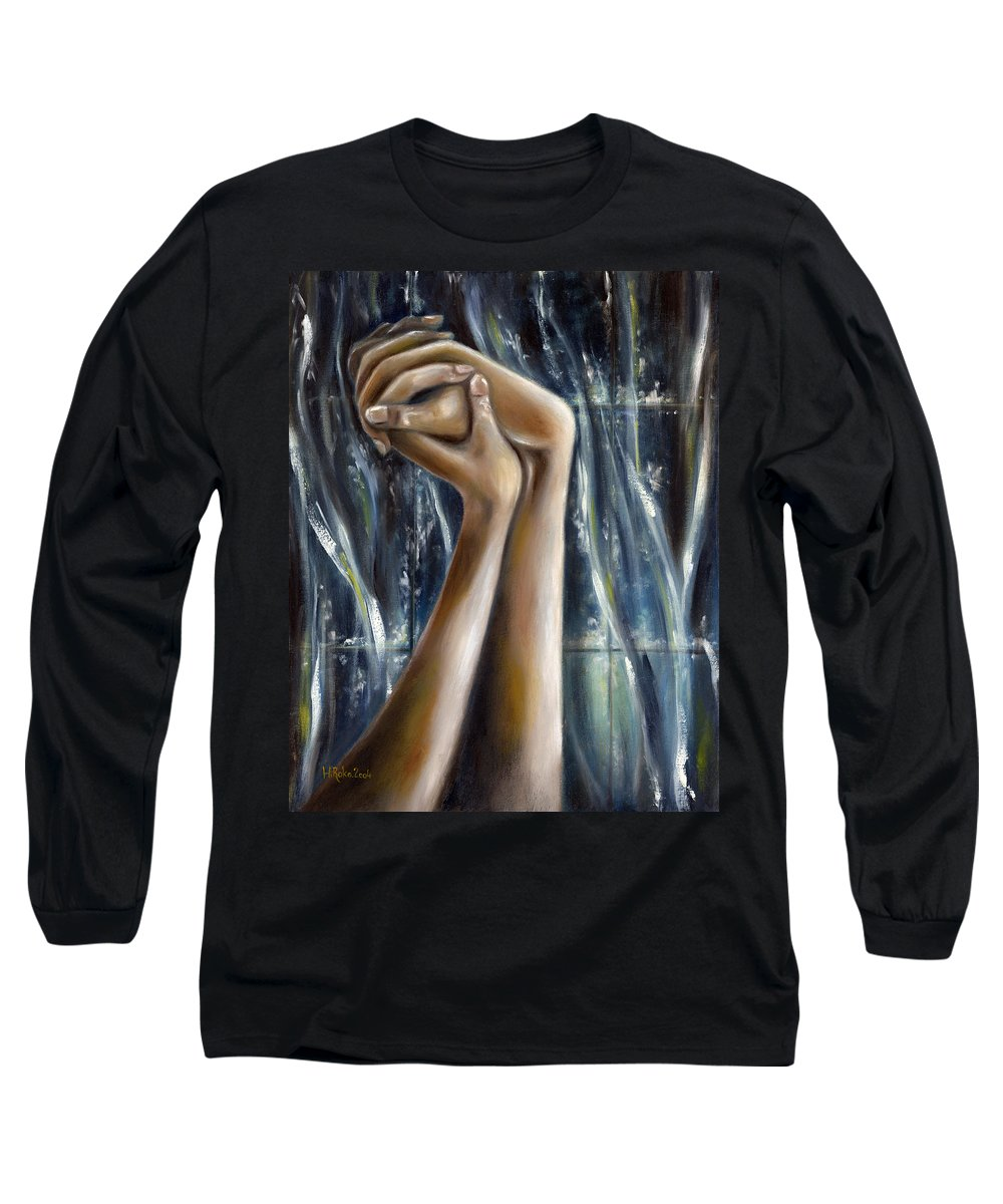Blue Long Sleeve T-Shirt featuring the painting Snow Light by Hiroko Sakai