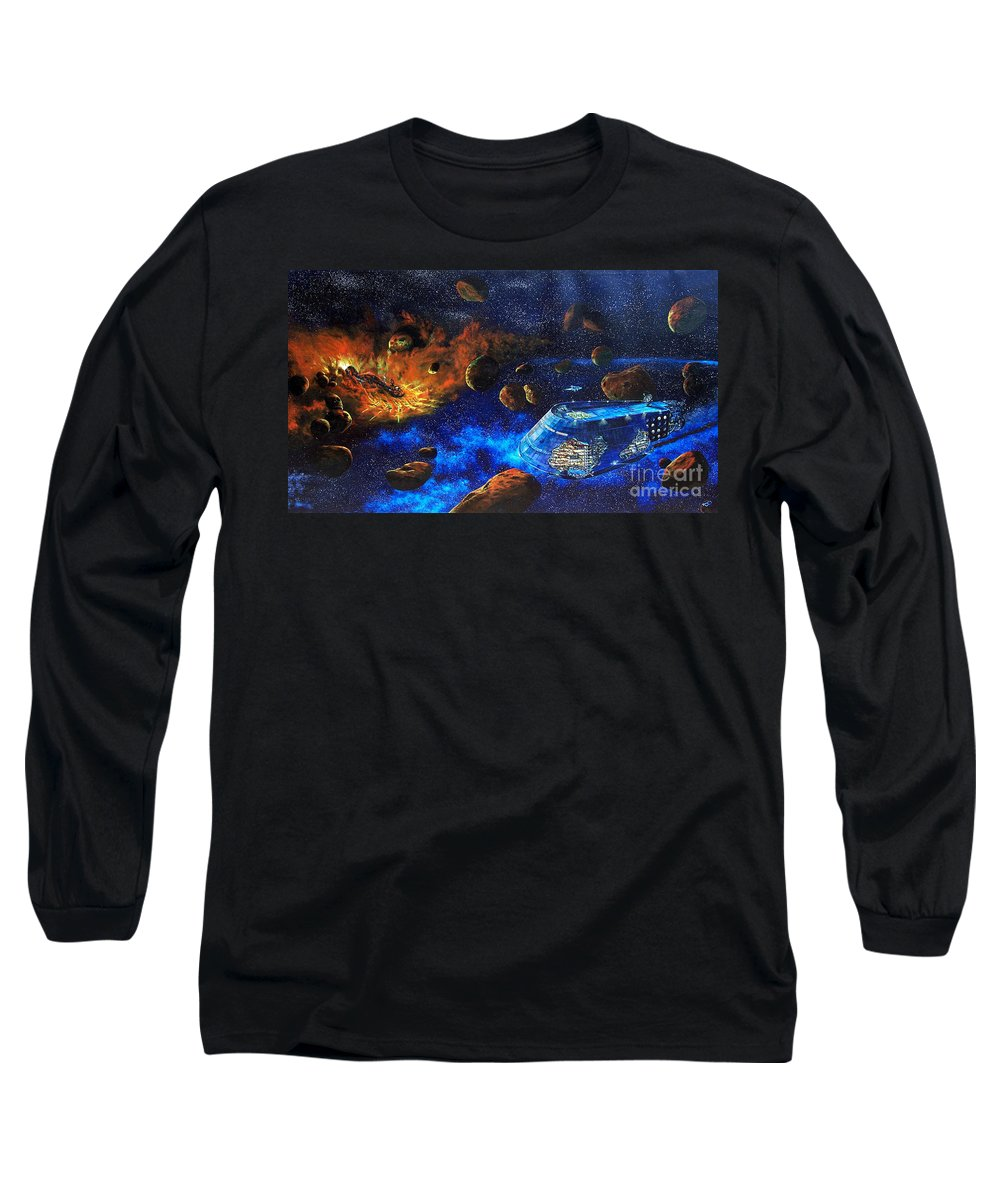 Future Long Sleeve T-Shirt featuring the painting Spaceship Titanic by Murphy Elliott