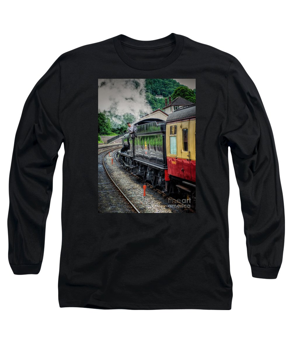 Steam Locomotive Long Sleeve T-Shirt featuring the photograph Steam Train 3802 by Adrian Evans