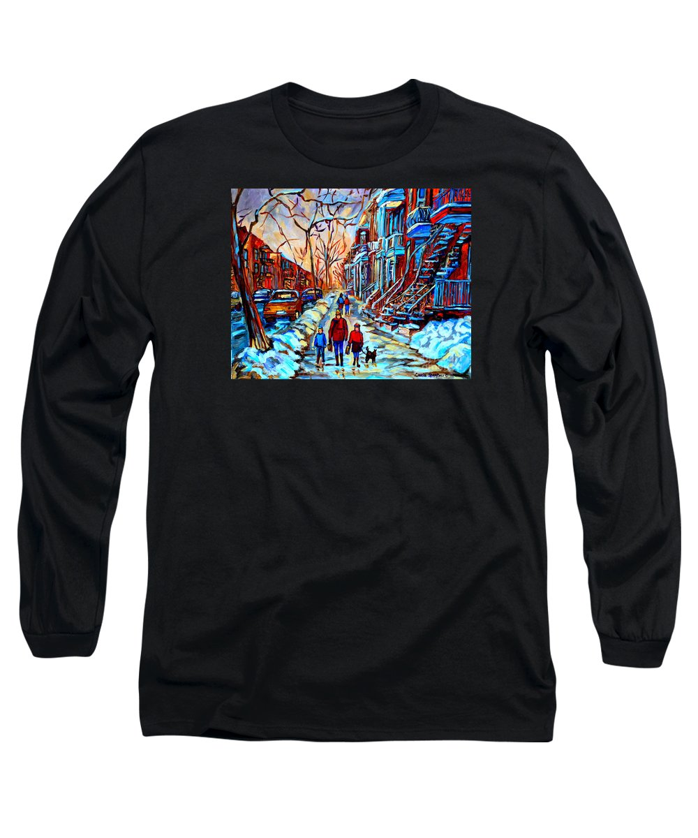 Montreal Long Sleeve T-Shirt featuring the painting Streets Of Montreal by Carole Spandau