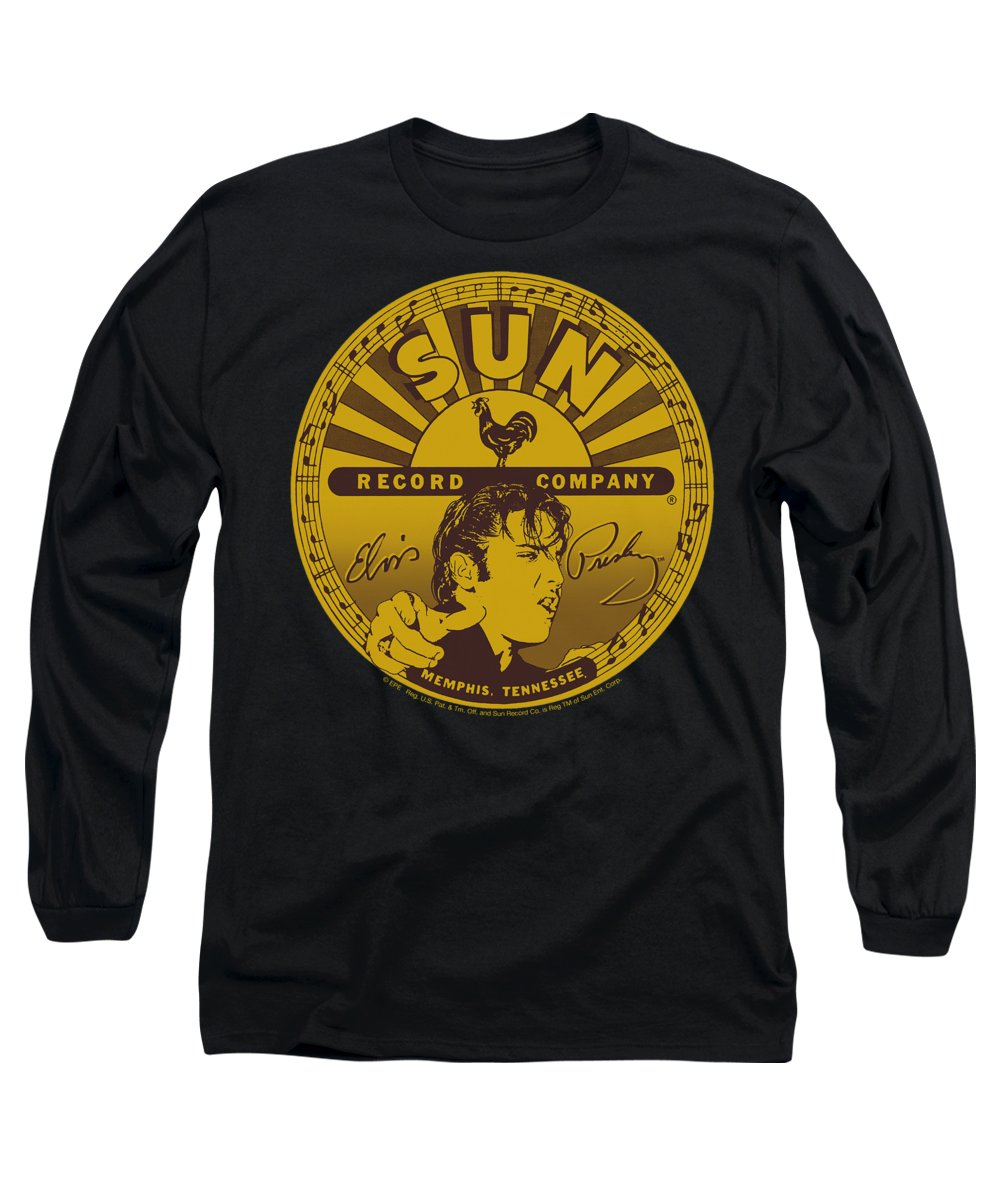 Sun Record Company Long Sleeve T-Shirt featuring the digital art Sun - Elvis Full Sun Label by Brand A