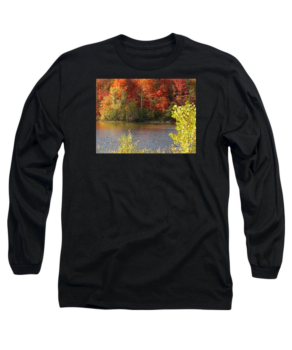 Autumn Long Sleeve T-Shirt featuring the photograph Sunlit Autumn by Ann Horn