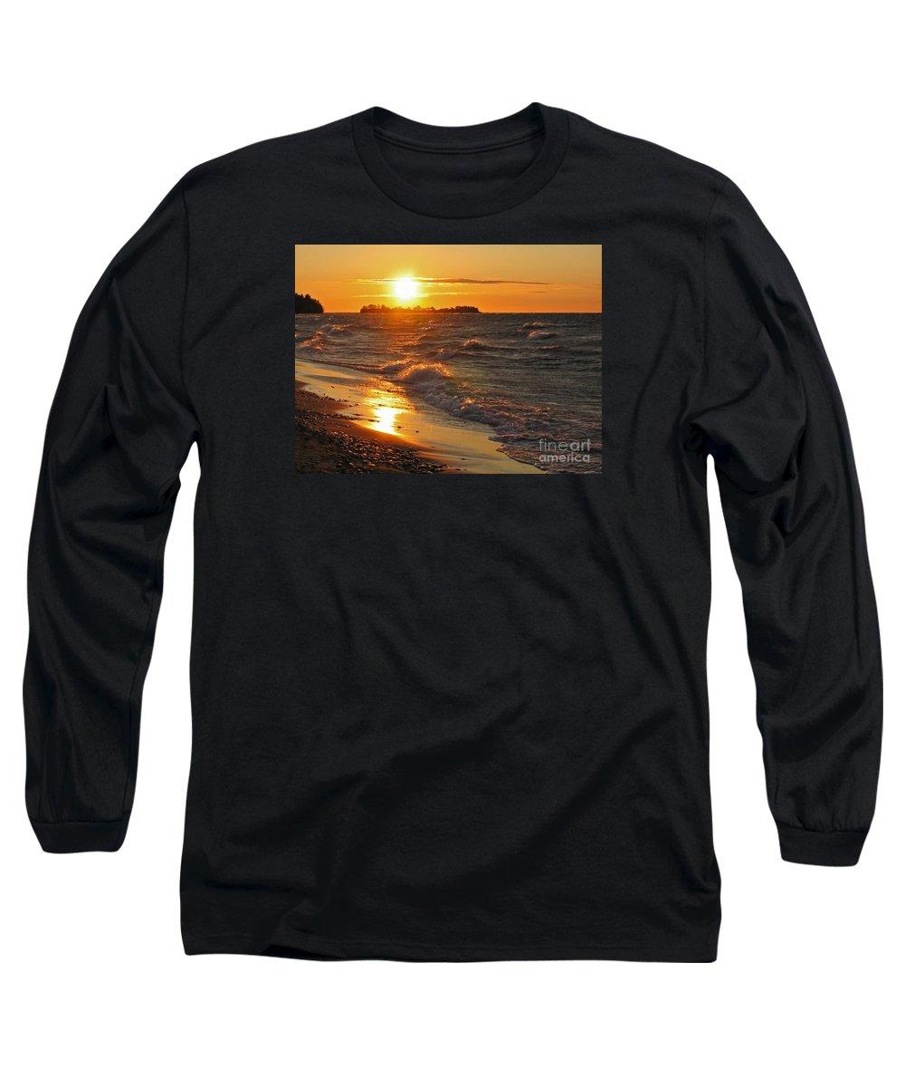 Sunset Long Sleeve T-Shirt featuring the photograph Superior Sunset by Ann Horn