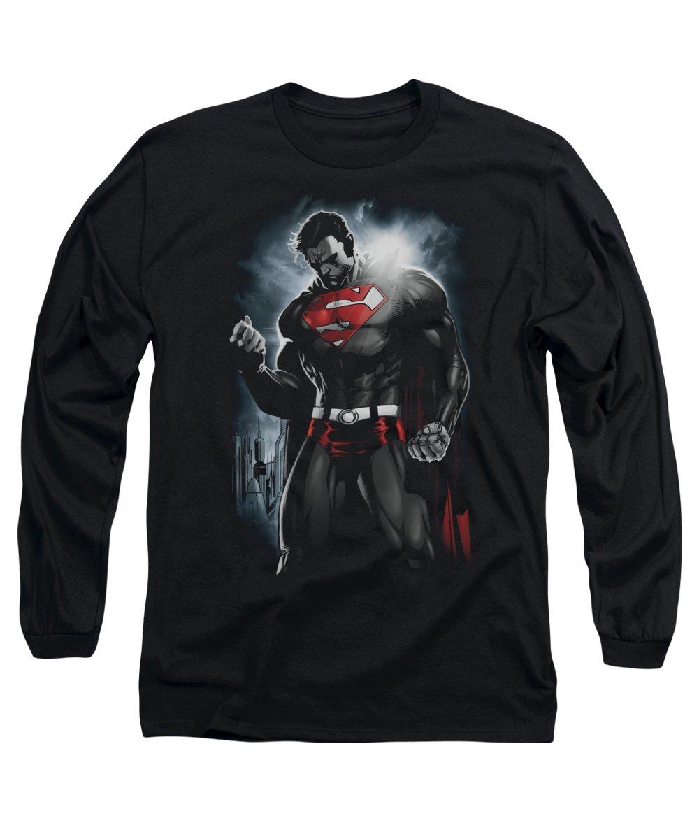 Superman Long Sleeve T-Shirt featuring the digital art Superman - Light Of The Sun by Brand A